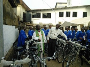 Bishop Yambasu with bicycles