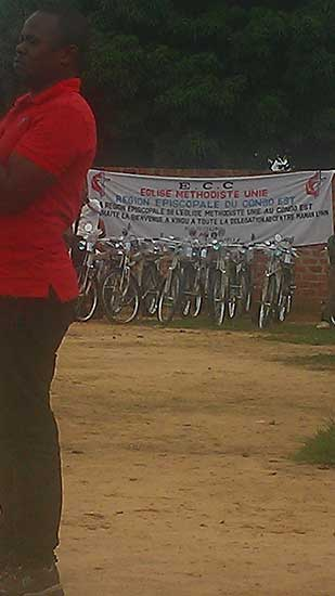 Bicycles stand assembled; ready for distribution at East Congo Annual Conference